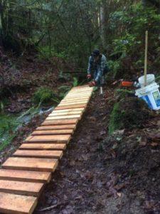 Scott nailing 2x6 pieces for walking platform.